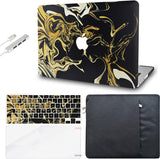 Macbook Case with Keyboard Cover, Screen Protector and Sleeve Sleeve Bag and USB |Black Gold