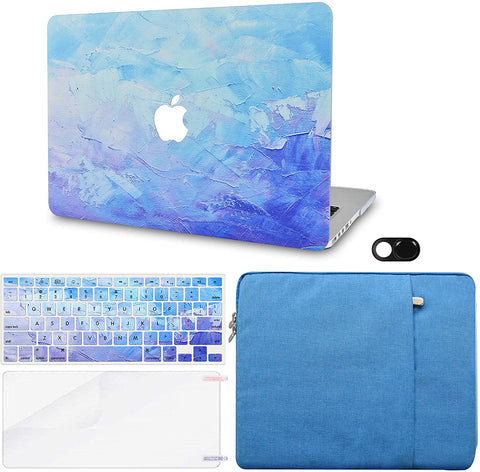 Macbook Case with Keyboard Cover, Screen Protector and Sleeve Sleeve Bag and Webcam Cover |Blue - Water Paint 2