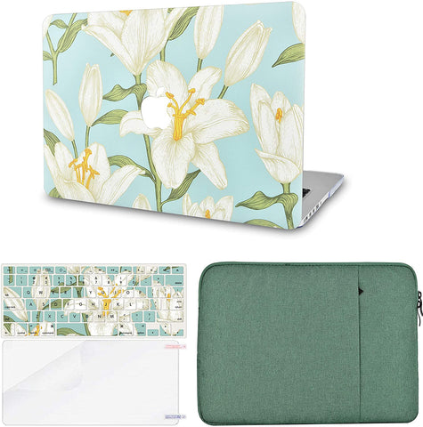 Macbook Case with Keyboard Cover, Screen Protector and Sleeve Package | Flower 11