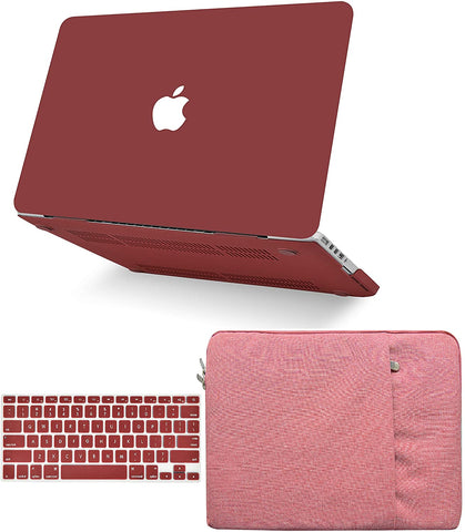Macbook Case with Keyboard Cover and Sleeve Package | Matte Wine Red