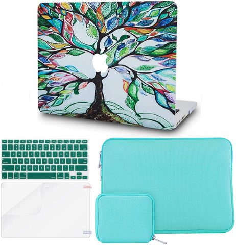 Macbook Case with Keyboard Cover + Slim Sleeve + Screen Protector + Pouch |Colorful Tree