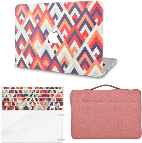 Macbook Case with Keyboard Cover, Screen Protector and Sleeve Bag |Colorful Triangles 2