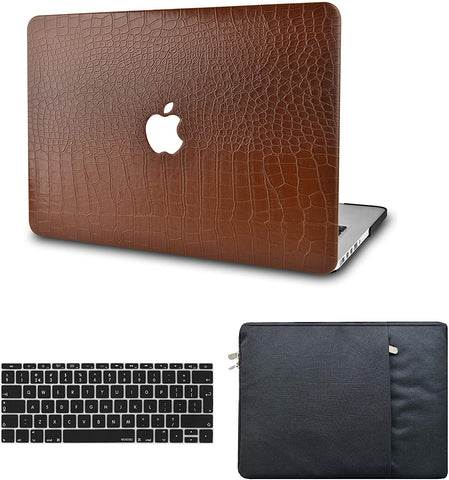 Macbook Case with Keyboard Cover and Sleeve Package | Matte Brown Crocodile Leather