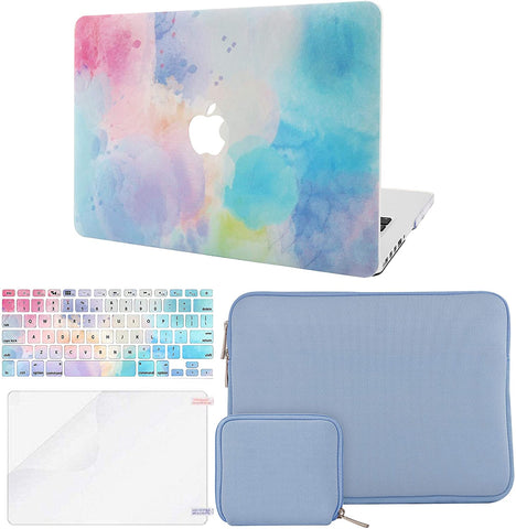 Macbook Case with Keyboard Cover + Slim Sleeve + Screen Protector + Pouch |Rainbow Mist2