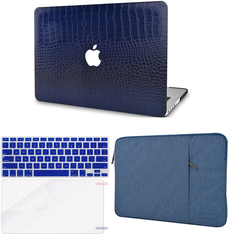Macbook Case with Keyboard Cover, Screen Protector and Sleeve Package | Leather Collection-Matte Navy Crocodile Leather