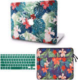 Macbook Case with Keyboard Cover and Sleeve Package | Floral Collection - Palm Leaves Red Flower - Case Kool