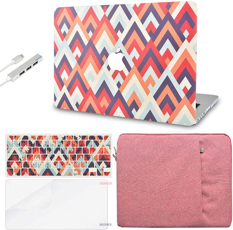 Macbook Case with Keyboard Cover, Screen Protector and Sleeve Sleeve Bag and USB |Colorful Triangles 2