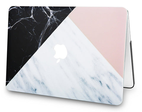 pretty nice c1060 c587b Macbook Case | Marble Collection - White Marble with Pink Black