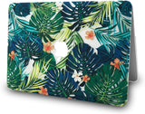 Macbook Case with Keyboard Cover, Screen Protector and Sleeve Package | Floral Collection - Palm Leaves Lilies - Case Kool