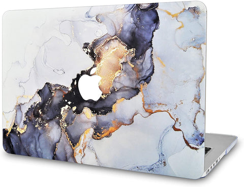 Macbook Case | Color Collection - White Marble Blue Gold