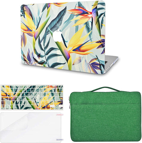 Macbook Case with Keyboard Cover, Screen Protector and Sleeve Bag |Leaf - Colorful 3