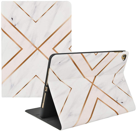 iPad Case | Marble Collection -  White Marble Gold Stripes - Case Kool