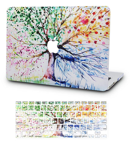 Macbook Case with US Keyboard Cover Package | Oil Painting Collection - Four Season Tree - Case Kool
