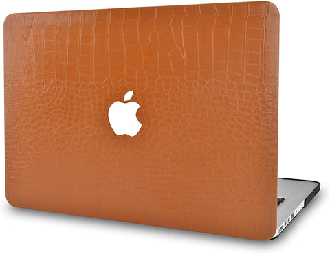Macbook Case | Matte Chestnut Crocodile Leather