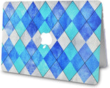 Macbook Case with Keyboard Cover and Sleeve Package |Blue Cyan Diamond