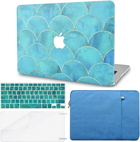 Macbook Case with Keyboard Cover, Screen Protector and Sleeve Package | Japanese Circle Pattern