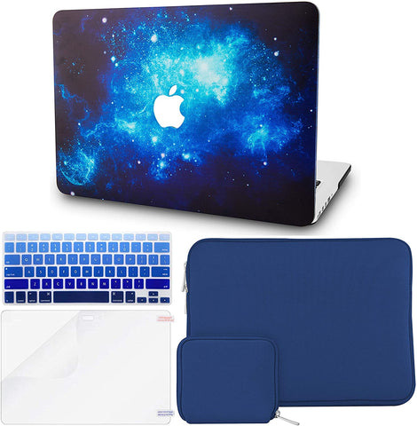 Macbook Case with Keyboard Cover + Slim Sleeve + Screen Protector + Pouch |Blue 2