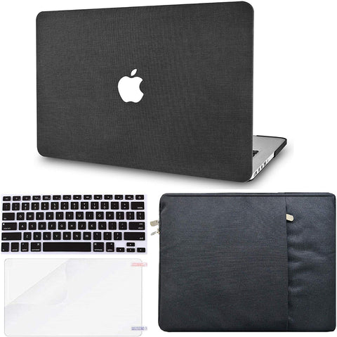 Macbook Case with Keyboard Cover, Screen Protector and Sleeve Package | Color Collection - Black Fabric - Case Kool