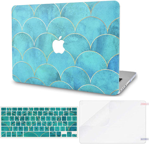 Macbook Case with Keyboard Cover and Screen Protector Package | Japanese Circle Pattern