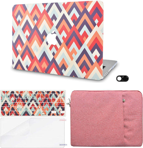 Macbook Case with Keyboard Cover, Screen Protector and Sleeve Sleeve Bag and Webcam Cover|Colorful Triangles 2