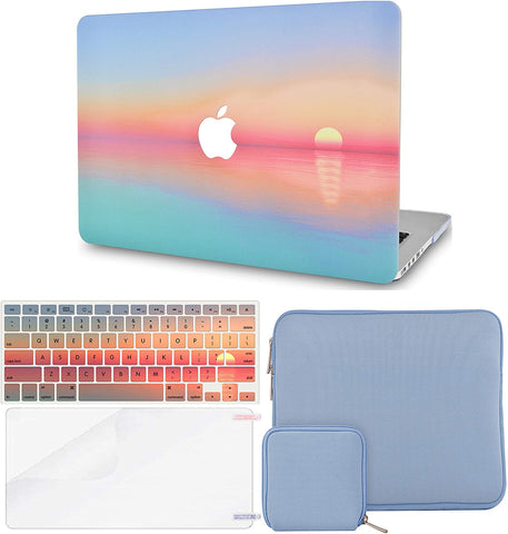 Macbook Case with Keyboard Cover + Slim Sleeve + Screen Protector + Pouch |Sunset