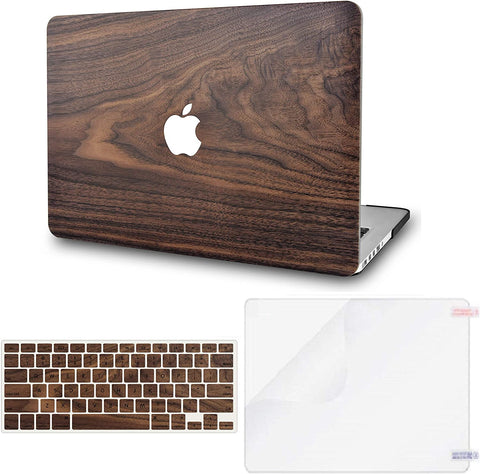 Macbook Case with Keyboard Cover and Screen Protector Package |Walnut Wood