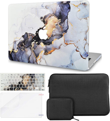 Macbook Case with Keyboard Cover + Slim Sleeve + Screen Protector + Pouch |White Marble Blue Gold