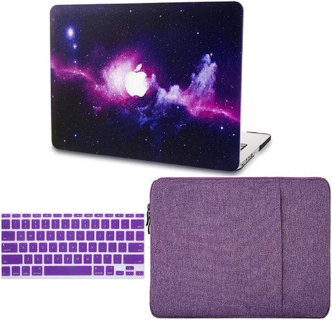 Macbook Case with Keyboard Cover and Sleeve Package | Galaxy Space Collection - Purple - Case Kool