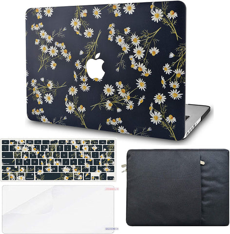 Macbook Case with Keyboard Cover, Screen Protector and Sleeve Package | Color Collection -  White Daisies