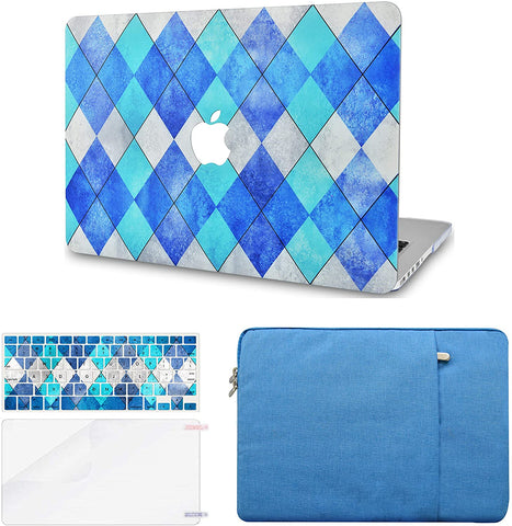 Macbook Case with Keyboard Cover, Screen Protector and Sleeve Package | Blue Cyan Diamond