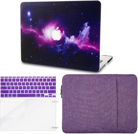 Macbook Case with Keyboard Cover, Screen Protector and Sleeve Package | Galaxy Space Collection - Purple - Case Kool