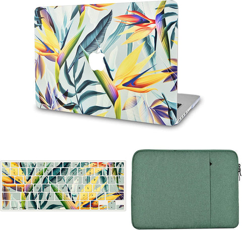 Macbook Case with Keyboard Cover and Sleeve Package |Leaf - Colorful 3