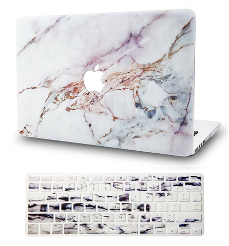Macbook Case with US/CA Keyboard Cover' Package | Marble Collection - White Marble 4 - Case Kool