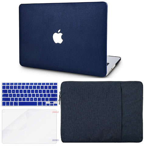 Macbook Case with US/CA Keyboard Cover, Screen Protector and Sleeve Package | Leather Collection - Dark Blue Leather - Case Kool