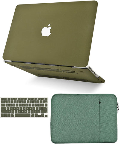 Macbook Case with Keyboard Cover and Sleeve Package |  Matte Olive Green