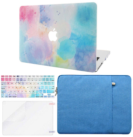Macbook Case with Keyboard Cover, Screen Protector and Sleeve Package | Painting Collection - Rainbow Mist 2 - Case Kool
