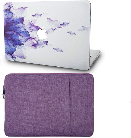 Macbook Case with Sleeve Package | Floral Collection - Purple Flower - Case Kool