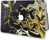 Macbook Case with Keyboard Cover, Screen Protector and Sleeve Bag |Black Gold