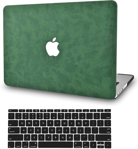 Macbook Case with Keyboard Cover Package | Dark Green Leather
