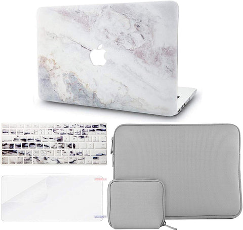 Macbook Case with Keyboard Cover + Slim Sleeve + Screen Protector + Pouch |White Marble 2