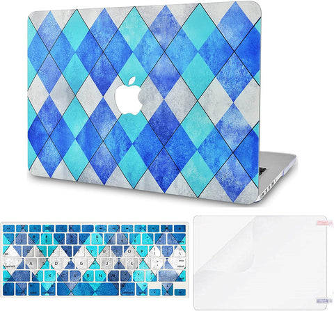 Macbook Case with Keyboard Cover and Screen Protector Package | Blue Cyan Diamond