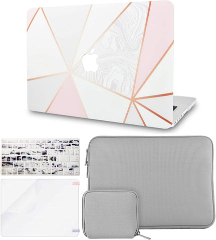 Macbook Case with Keyboard Cover + Slim Sleeve + Screen Protector + Pouch |White Marble with Pink Grey 2