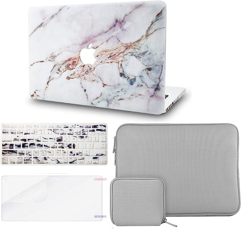 Macbook Case with Keyboard Cover + Slim Sleeve + Screen Protector + Pouch |White Marble 4