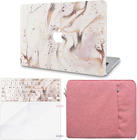 Macbook Case with Keyboard Cover, Screen Protector and Sleeve Package | Gold Branches