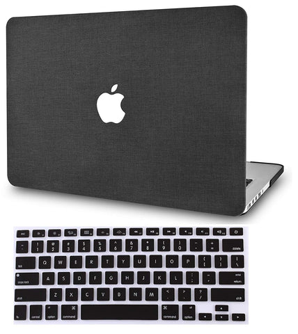 Macbook Case with Keyboard Cover Package | Color Collection - Black Fabric - Case Kool