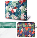 Macbook Case with Keyboard Cover, Screen Protector and Sleeve Package | Floral Collection - Palm Leaves Red Flower - Case Kool