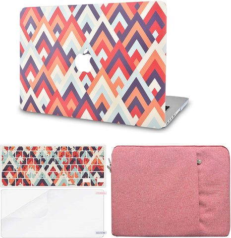 Macbook Case with Keyboard Cover, Screen Protector and Sleeve Package | Colorful Triangles 2