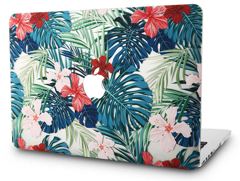 Macbook Case | Floral Collection - Palm Leaves Red Flower - Case Kool