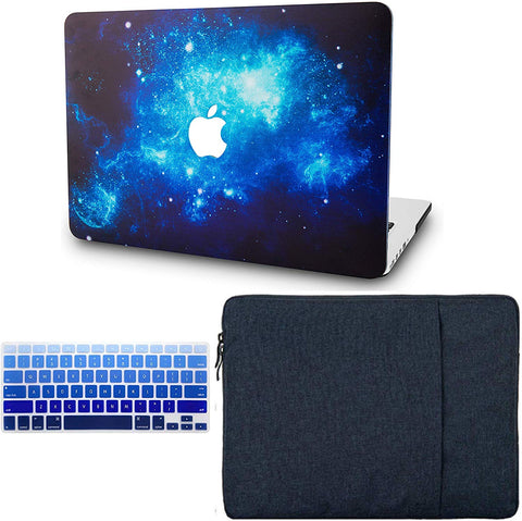 Macbook Case with Keyboard Cover and Sleeve Package | Galaxy Space Collection - Blue 2 - Case Kool