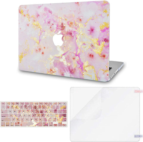 Macbook Case with Keyboard Cover and Screen Protector Package |Pink Marble Gold Mist